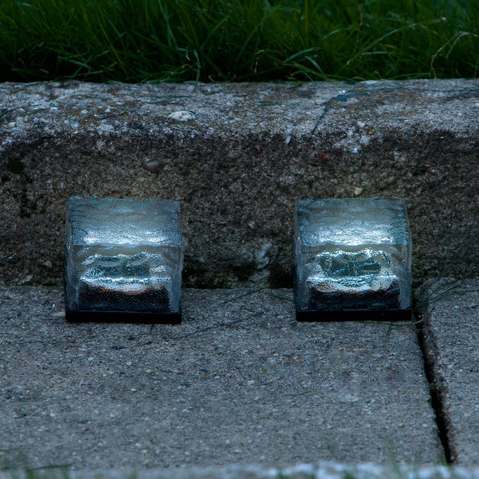 Set of 2 Cool White Frosted Glass Solar Brick Path Lights - Small