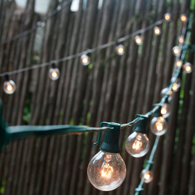 Lights.com String Lights Festoon & Patio Lights 25 Bulb Classic Glass Globe Plug-in String ...