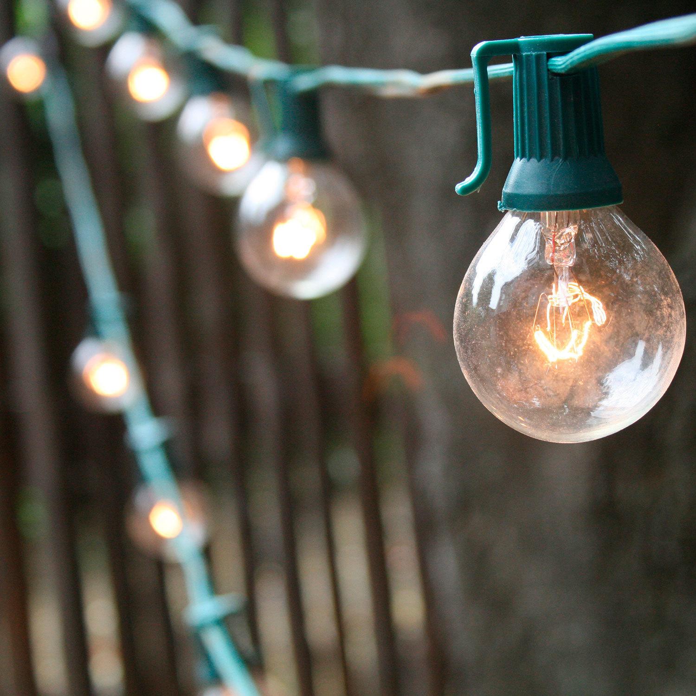 Outdoor String Lights Plug In : Lights.com String Lights Festoon & Patio Lights 25 Bulb Classic Glass Globe Plug-in String ...