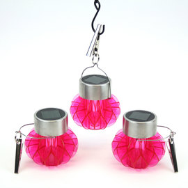 Acrylic Hot Pink Solar Hanging Lanterns, Set of 3