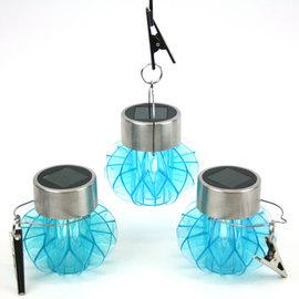 Acrylic Aqua Blue Solar Hanging Lanterns, Set of 3