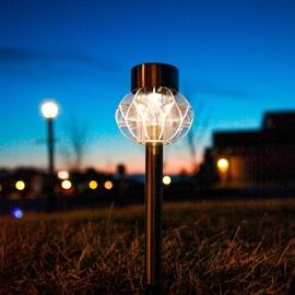 Acrylic Warm White Solar Stake Lights, Set of 4