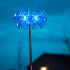 Acrylic Ruffled Edge Aqua Blue Solar Garden Lights, Set of 4