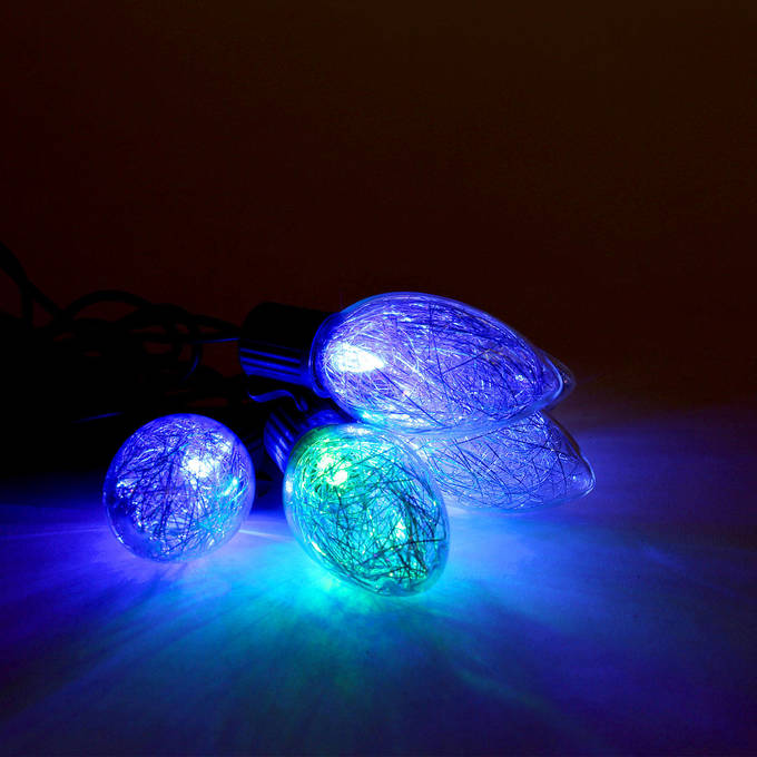Color Changing Tinsel Plug-in String Lights, Strand of 10 - C9 Bulb