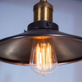 Fulton Bronze Canopy Pendant with Vintage Bulb