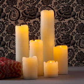 Slim Flameless Drip Wax Candles, Set of 6