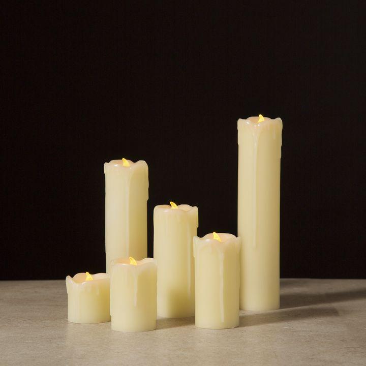 Lights Com Decor Flameless Candles Flameless Pillar Candles Natural Melted Edge Drip