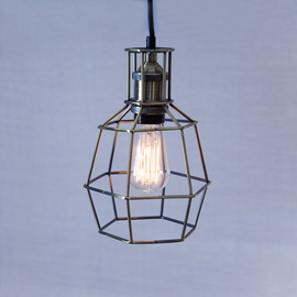 Clinton Bronze Caged Pendant with Vintage Bulb