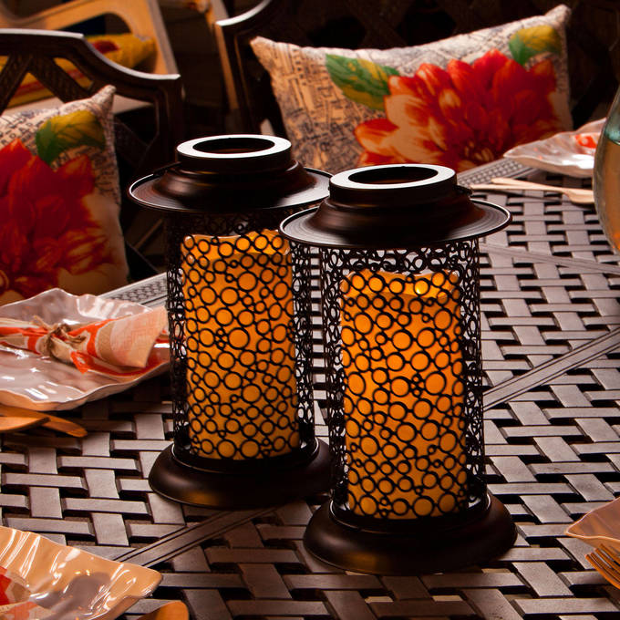 "Set of 2 Cirque Lanterns with 6"" Outdoor Candles and Remote"