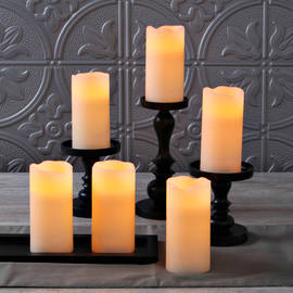 "Ivory Melted Edge 6"" Flameless Wax Candles, Set of 6"
