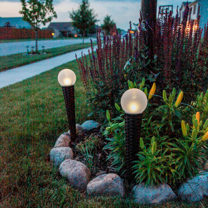 Solar Orb Light with Wicker Garden Stake, Set of 2