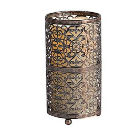 Metal Open Work Table Lantern with Flamleess Candle, Tall