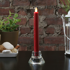"""Burgundy 8"""" Flameless Wax Taper Candle with Moving Flame"""