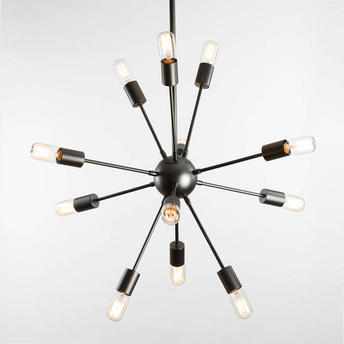 12-Light Sputnik Pendant in Gunmetal, Medium