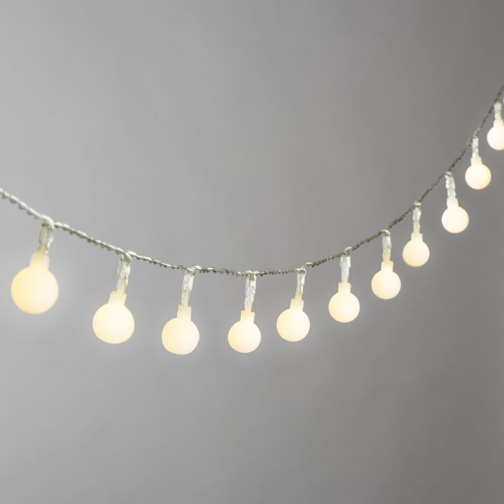Frosted Warm White Globe Battery String Lights with Timer, Strand of 50