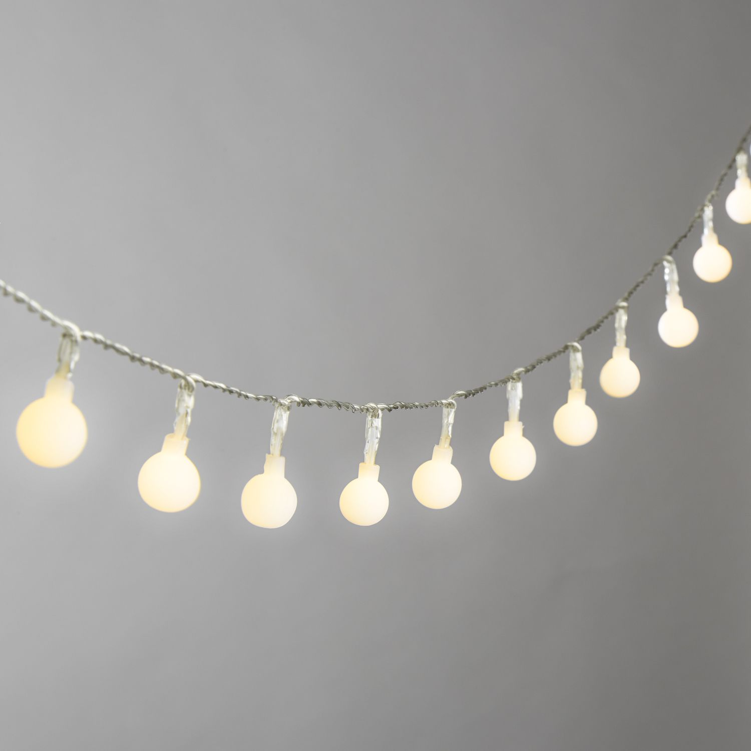 Lights.com String Lights Battery String Lights Frosted Warm White Mini Globe Battery ...
