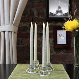 "Ivory 10"" Flameless Wax Vigil Taper Candles, Set of 4"