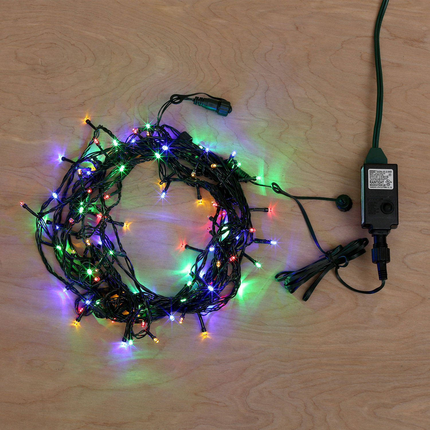 Lights.com Collections White Christmas Multicolor 100 LED Plug-in Christmas String Lights