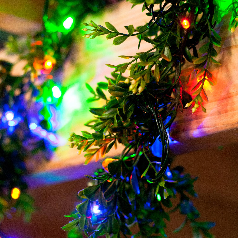 Lights.com String Lights Christmas Lights Multicolor 100 LED Solar-Powered Christmas ...