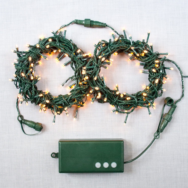 Lights.com Lit Decor String Lights Christmas Lights Warm White 200 LED Battery-Powered ...