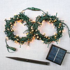Warm White 200 LED Solar-Powered Christmas String Lights