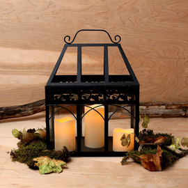 Glass Terrarium Lantern with Flameless Candles