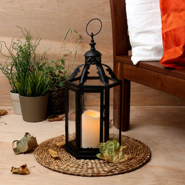 Filigree Window Lantern with Flameless Candle