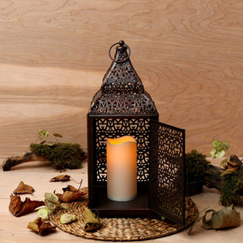 Antique Marrakech Copper Lantern with Flameless Candle
