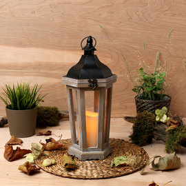 White Oiled Taper Lantern with Flameless Candle