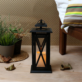Tall Crossbar Lantern with Flameless Candle