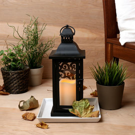Paneled Scroll Lantern with Flameless Candle