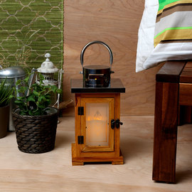 Frosted Pane Wooden Lantern with Flameless Candle