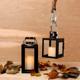 Steel Top Metal Lantern with Flameless Candle
