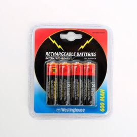 600 mAh Rechargeable AA Batteries, Set of 4