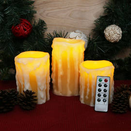 Heavy Drip Wax Flameless Candles with Remote, Set of 3