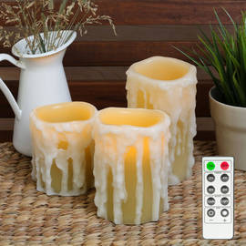 Heavy Drip Wax Flameless Candles with Timer Remote, Set of 3