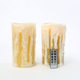 "Heavy Drip 8"" Wax Flameless Candles with Timer and Remote, Set of 2"