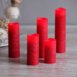 Melted Edge Distressed Red Wax Slim Flameless Candles, Set of 5