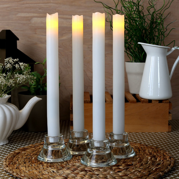 """Laurent White 11"""" Melted-Edge Wax Flameless Taper Candles, Set of 4"""