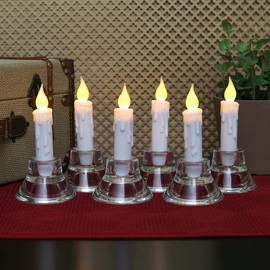 Plastic Faux Drip Mini Taper Candles with Timer, Set of 6
