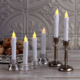 "Resin 7"" Taper Candles with Timer, Set of 6"