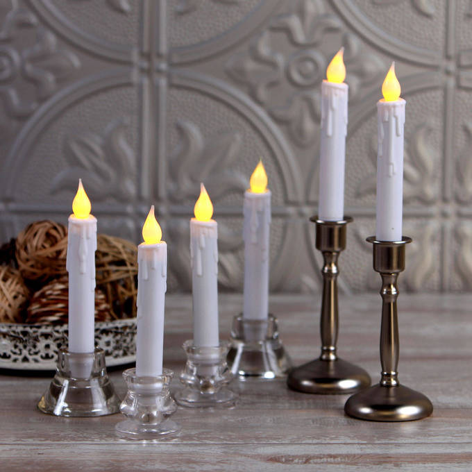 """Florence White 7"""" Drip Resin Flameless Taper Candles, Set of 6"""
