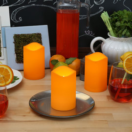 Orange Outdoor Flameless Pillar Candles, Set of 3
