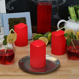 Red Outdoor Flameless Pillar Candles, Set of 3