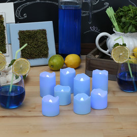 Blue Outdoor Flameless Votives, Set of 8