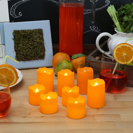 Orange Outdoor Flameless Votives, Set of 8