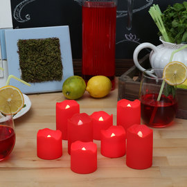 Red Outdoor Flameless Votives, Set of 8