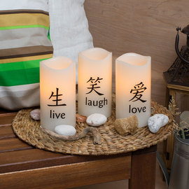 Live Laugh Love Flameless Wax Candles, Set of 3