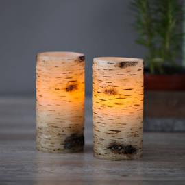 "Birchwood 6"" Flameless Wax Candles, Set of 2"