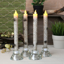 "Birchwood 10"" Flameless Wax Taper Candles, Set of 4"